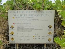 Picture of warning sign at Mokapu Beach, Wailea, Maui, Hawaii.