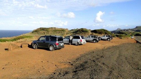 Picture of the parking lot for the Nakalele Blowhole on Maui, Hawaii.