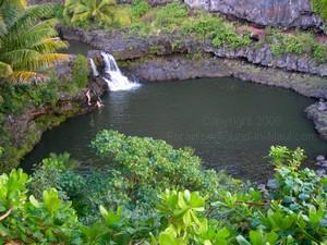 large pool with waterfall at oheo gulch near Hana Maui