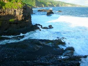 stream emptying into ocean at Oheo Gulch near Hana Maui