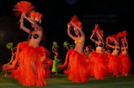 Picture of female luau dancers at the Old Lahaina Luau, Maui.