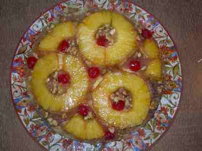 Picture of pineapple upside down cake that I made from the pineapple I'll use for starting a pineapple plant.