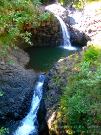 Picture of two waterfalls along the Pipiwai Trail, Maui, Hawaii.