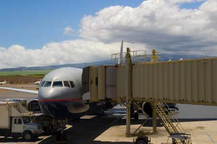 plane landed at a Maui airport and docked at the terminal