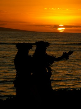 Hula dancers at sunset.