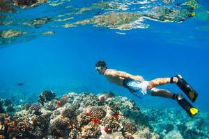 man snorkeling in Hawaii