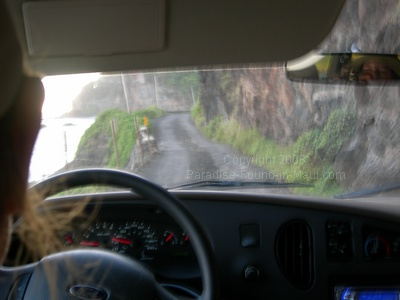 driving to Hana via the southern route view of narrow road on south-east side of Maui