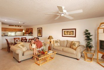 Picture of the interior of a suite at the Aston Paki Maui condo rentals near Kaanapali Beach.