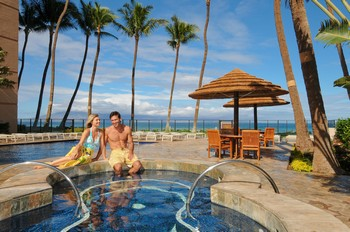Picture of the swimming pool overlooking the ocean at the Aston Mahana at Kaanapali Beach on Maui, Hawaii.