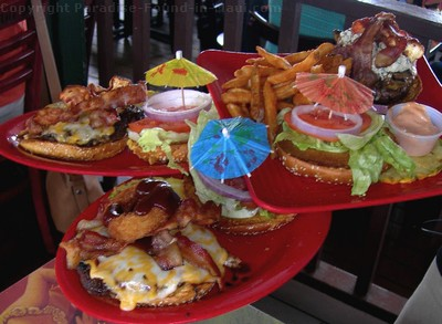 Picture of juicy cheeseburgers at the Cheeseburger in Paradise, Maui restaurant located in the town of Lahaina.