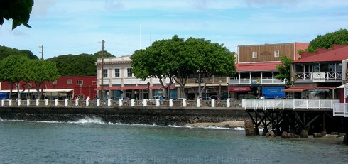 Picture of Front Street, Lahaina, viewed from Lahaina Harbour area on the island of Maui, Hawaii.
