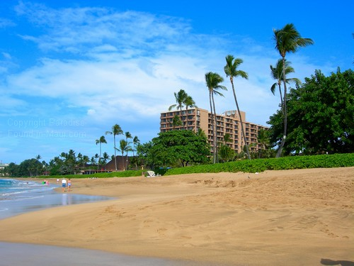 picture of Kaanapali beach maui and view of Royal Lahaina Resort tower