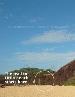 Picture of the start of the trail to Little Beach Maui at the base of the Pu'u Ola'i cinder cone at the north end of Big Beach