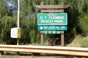 Picture of the sign on the highway for D. T. Fleming Beach Park in Kapalua, Maui, Hawaii.