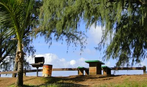 Picture of a picnic table and BBQ at D. T. Fleming Beach Park in Kapalua, Maui, Hawaii.