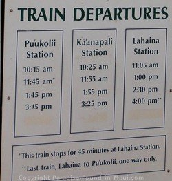 Picture of Sugar Cane Train Departure Schedule Sign.