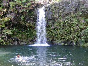 picture of waterfall along the road to hana on the island of maui hawaii