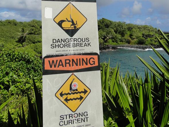 Dangers at Waianapanapa Black Sand Beach