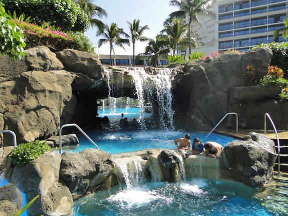 waterfalls in the swimming pool