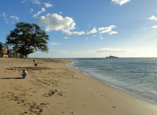 Kids playing on Baby Beach in Lahaina