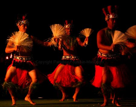Picture of male luau performers at the Old Lahaina Luau Maui.
