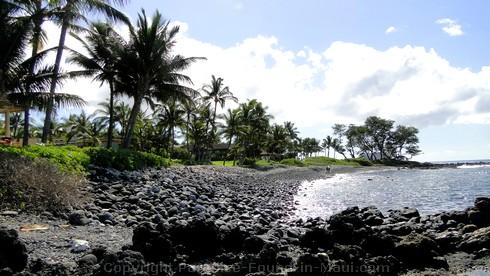 Picture of black rock beach in Wailea, Maui.