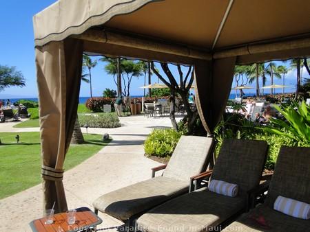 Picture of poolside cabana on Maui, Hawaii.